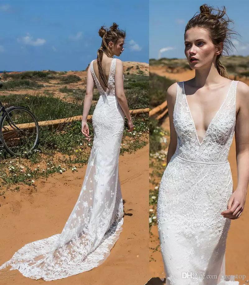 999044cd9 Elegant Lace Sheath Wedding Dresses 2018 Limor Rosen Bridal Sleeveless Deep  V Neckline Open V Back Chapel Train Designer Wedding Gowns Gorgeous Wedding  ...