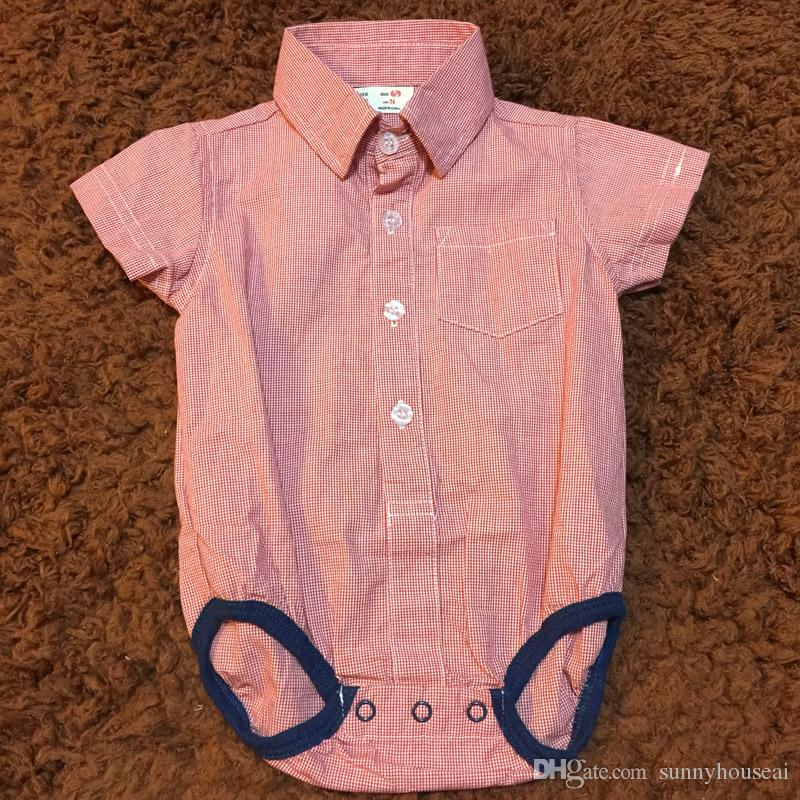 2019 Baby Boys Romper Clothes Red Plaid Gentleman Style