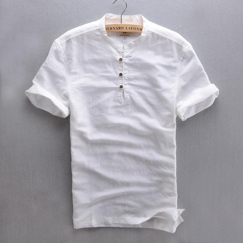 4d8d0facaff2 Wholesale- Men's short sleeve Summer Linen Shirt white sky blue Mandarin  Collar botton casual shirt breathable cotton linen shirt for men