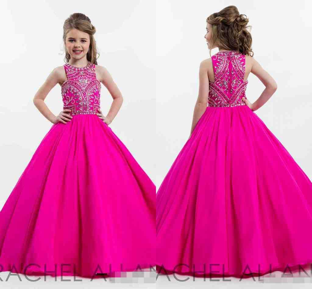 Hot Pink Sparkly Princess Ball Gown Girl'S Pageant Dresses 2017 ...