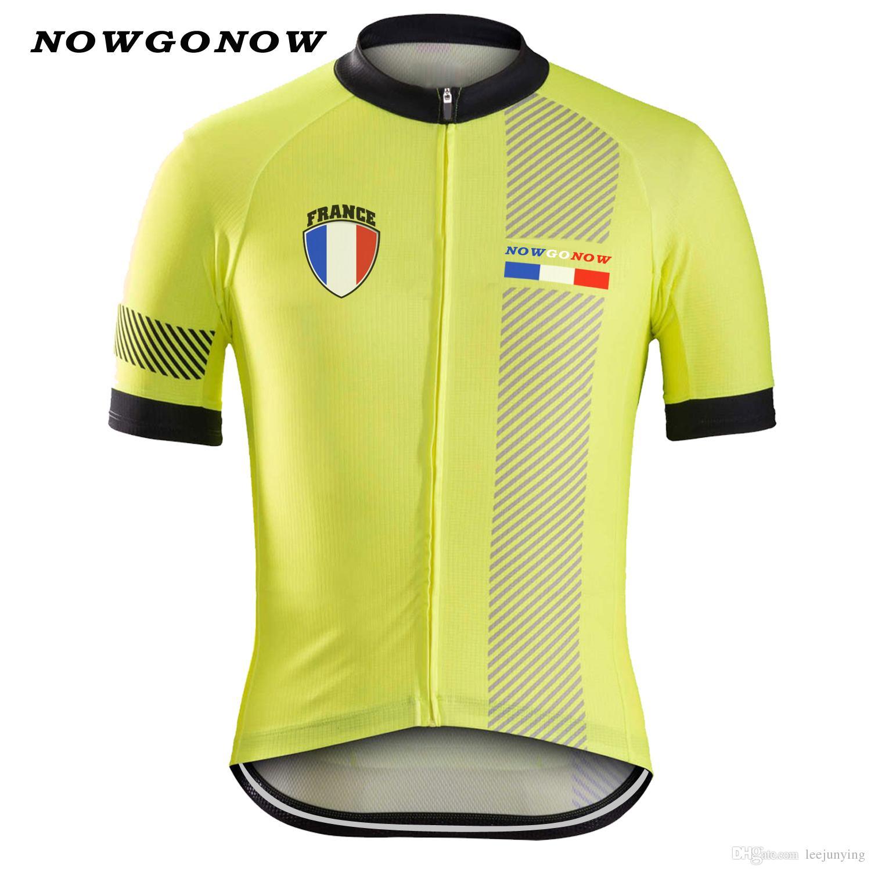 Uomini estate 2017 ciclismo jersey francia abbigliamento bici abbigliamento top giallo tour bandiera nazionale squadra MTBroad pro cavalcate top NOWGONOW maglia ciclismo