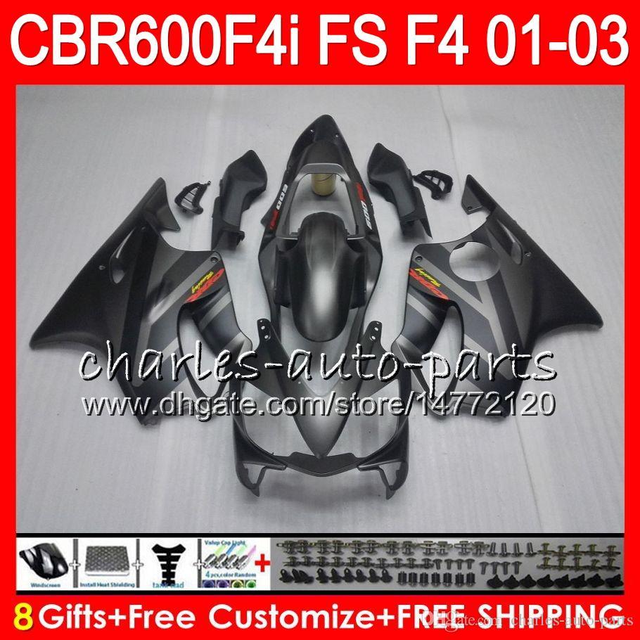 블랙 실버 8 개 선물 For HONDA CBR 600 F4i 01-03 CBR600FS FS 28HM16 CBR600 F4i 2001 2002 2003 CBR 600F4i CBR600F4i 01 02 03 Fairing