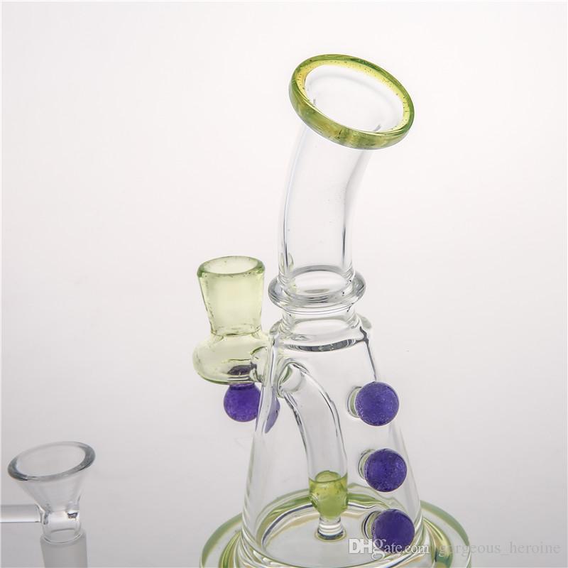 Più nuovo Bong in vetro Inline Perc Oil Rig Bong Tubi d'acqua Viola Bead Bong Vetro colorato Bubbler Tubi in magazzino Consegna veloce