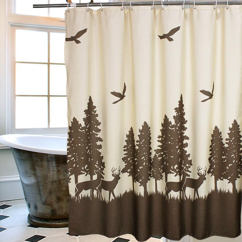 Wholesale Thick Elk Tree Landscape Waterproof Shower Curtain Bathroom Products Creative Polyester Bath Cortina De Bano With Hooks UK 2019 From