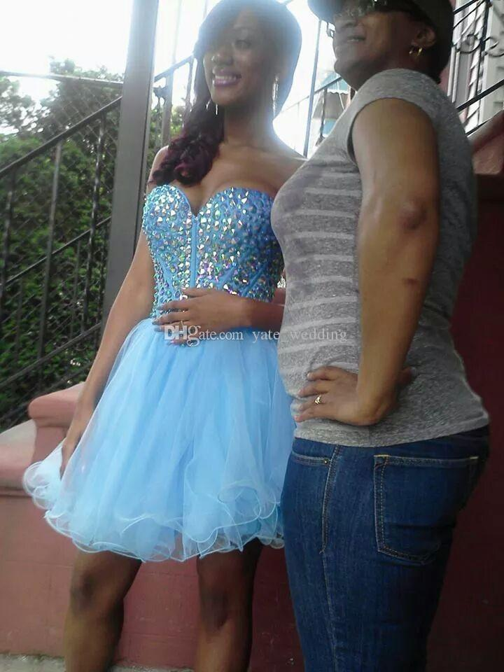 Sexy Light Blue Short Homecoming Dresses Sweetheart Crystal Tulle Fluffy Corset Lace Up Sparkly Party Dresses Prom Dresses