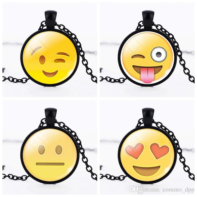 Fashion QQ emoji cartoon Necklaces glass floating locket pendant Necklace Jewelry cheap For women and men Link Chain Hot sale