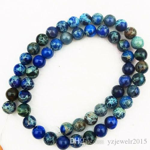 YZ133 8mm Azul escuro Sedimento Mar JasperPyrite Rodada solto pérola 15,5 polegadas