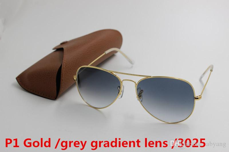1pcs Top Fashion Brand Pilot Sunglasses Designer Sun Glasses For Men Women Gradient Alloy Metal Gold Black Glass Lens 58mm Original Case Box