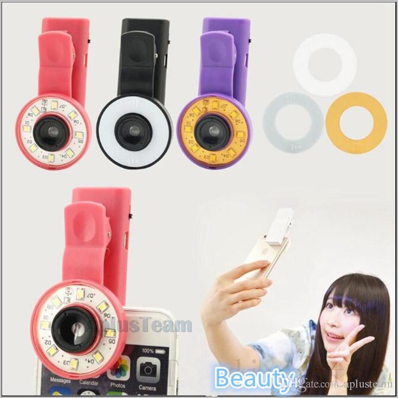 Mini Selfie Filter LED Flash Fill Light Camera Micro-lens Enhancing Clip External Spotlight Wide Angle Fish Eyes Lens for iPhone Samsung HTC