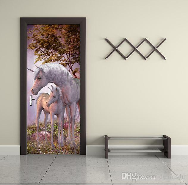 3D DIY Horse 77cm*200cm PVC Door stickers/Adhesive and removable Wall Stickers Wall Decal Mural Art Home Decor