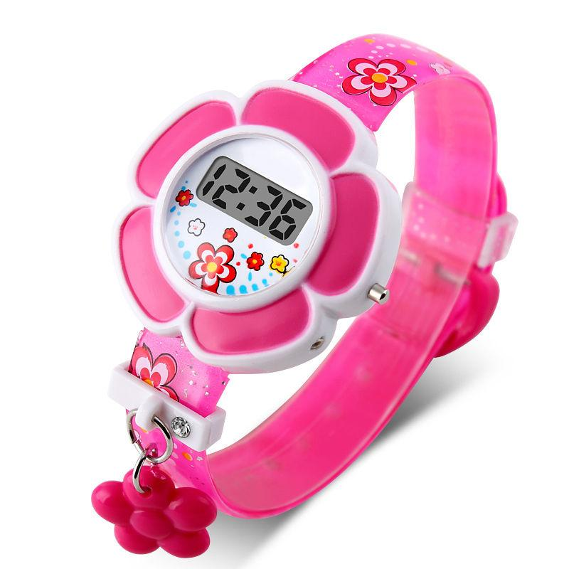 2017 new lovely flower cute kids watches children led watches cartoon silicone digital for Watches for kids