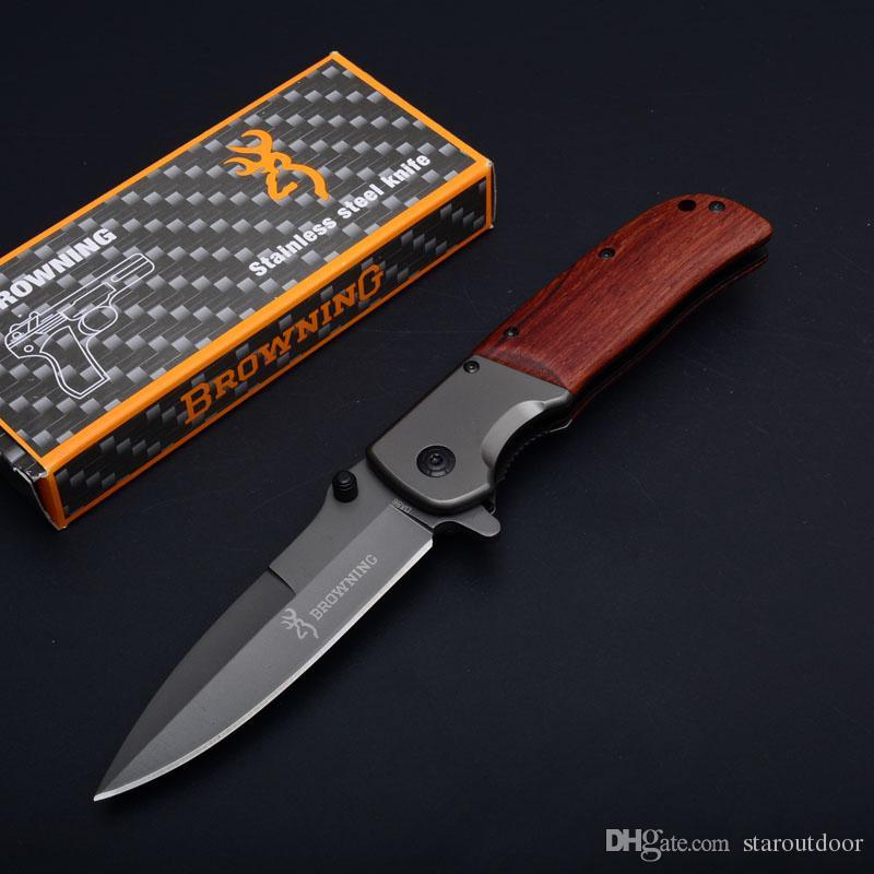 جديد براوننج da86 التيتانيوم التكتيكي الطي سكين الخشب مقبض كبير الحجم التخييم الصيد بقاء الجيب فائدة edc جمع
