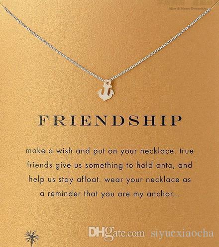 Mit Karte! Silve und Goldfarbe nette Dogeared Halskette mit Bootsanker Freundschaft, kein verblassen, kostenloser Versand und hohe Qualität.