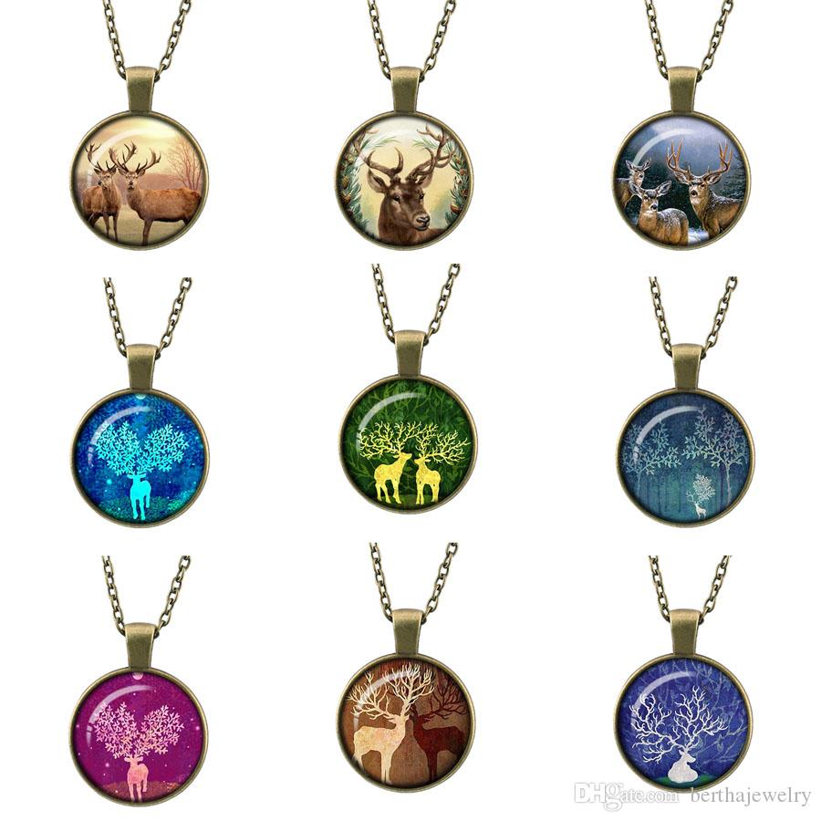 Retro Fashion 2017 New Style Christmas Gift Time Gem long paragraph sweater Pendant Bronze Necklace Merry Christmas Elk charms jewelry