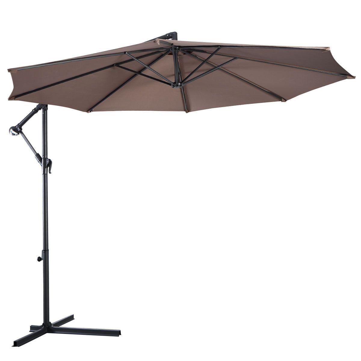 10 Ft Hanging Umbrella Patio Sun Shade Offset Outdoor Market W