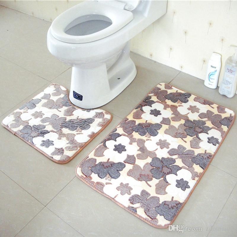 Best Bathroom Mats Set Coral Fleece Memory Foam Rug Kit Toilet Pattern Bath  Non Slip Floor Carpet Mattress For Bathroom Decor Under $12.99 | Dhgate.Com