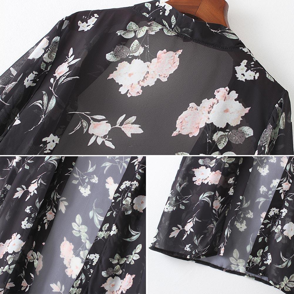 Mujer Chiffon largo Chaqueta de punto de flores Floral Playa Cubre Ups Dobladillo Dobladillo Frente abierta Mangas largas Bikini Cover Negro Tallas grandes Pareo