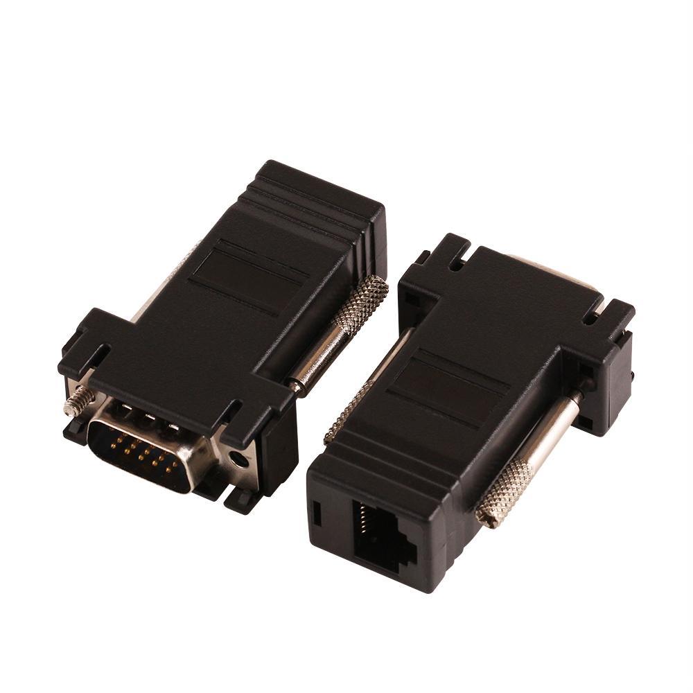 ZJT40 15PIN VGA a RJ45 conector Nuevo VGA Extender Macho a Lan Cat5 Cat5e RJ45 Ethernet adaptador hembra