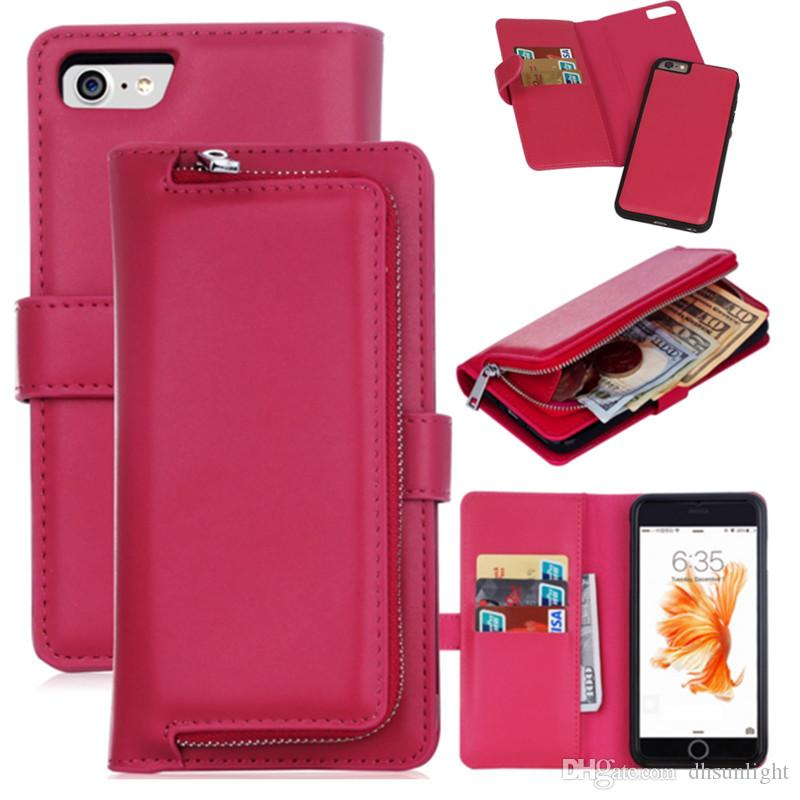 classic fit bef66 2ddc1 Multi Functional Magnetic Ultra-thin Wallet Case Leather Zipper Gel Inner  Case Cover With Money Pocket Slots For iPhone 7 6s Plus Samsung S7