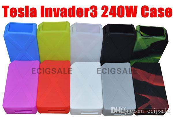Tesla Invader3 240W E cig 들어 전자 담배 실리콘 케이스 스킨 커버 가방 포켓 파우치 액세서리 박스 케이스