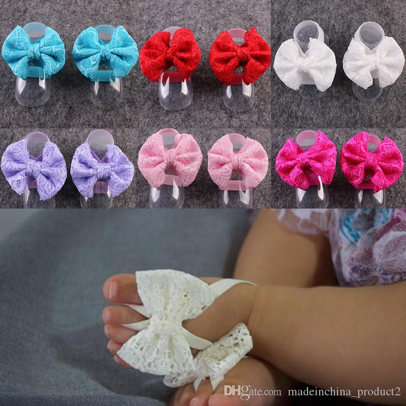 db4d8fea77da 2017 Baby Barefoot Sandals Lace Bow Sandals Summer Newborn Wristlet Toddler  Girls First Walking Shoes Photography Props Baby Feet Rings Cute Boys  Sneakers ...