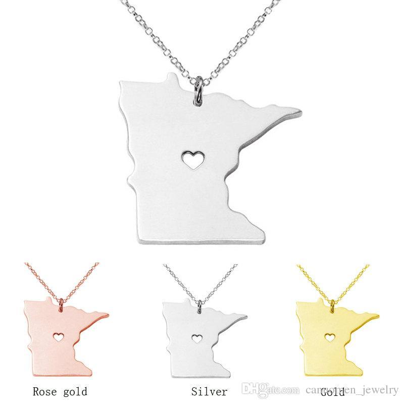 Großhandel Minnesota Map Edelstahl Anhänger Halskette Mit Liebe Herz ...