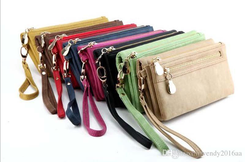 2017 Women Fashion Wallets Dull Polish Leather Wallet Double Zipper Day Clutch Purse Wristlet Handbags