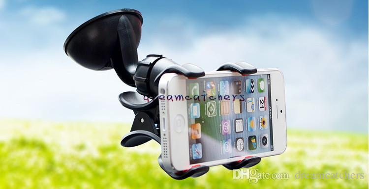 عالمي 360 درجة للتدوير حامل كأس شفط حامل سيارة جبل حامل مزدوج كليب القوس لفون 7 سامسونج S7 LG الهاتف الخليوي HTC