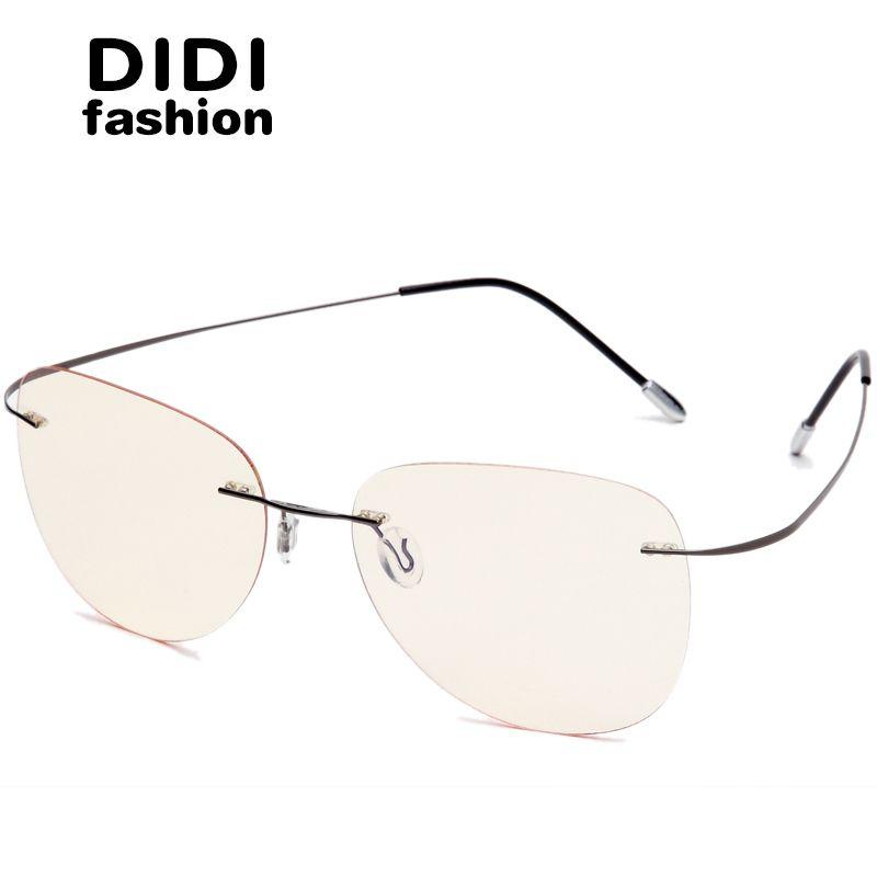 6d202dc22b66 DIDI Men's Titanium Alloy Anti Blue Glasses Women Bendable Frame ...