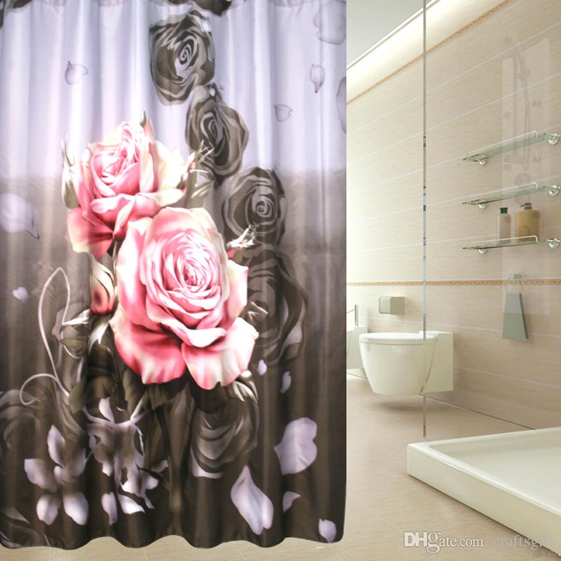 180cm*200cm Big Rose Shower Curtain Waterproof Bathroom Shower Cortina Ducha Curtains for Bath Room with Plastic Hooks Bathroom Accessories