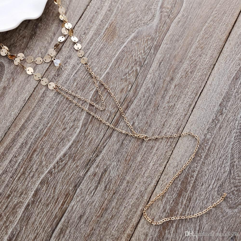 New Arrived Golden Sequins Necklaces thin chain pendants multilayer choker tassel necklaces Long Gothic womens accessories
