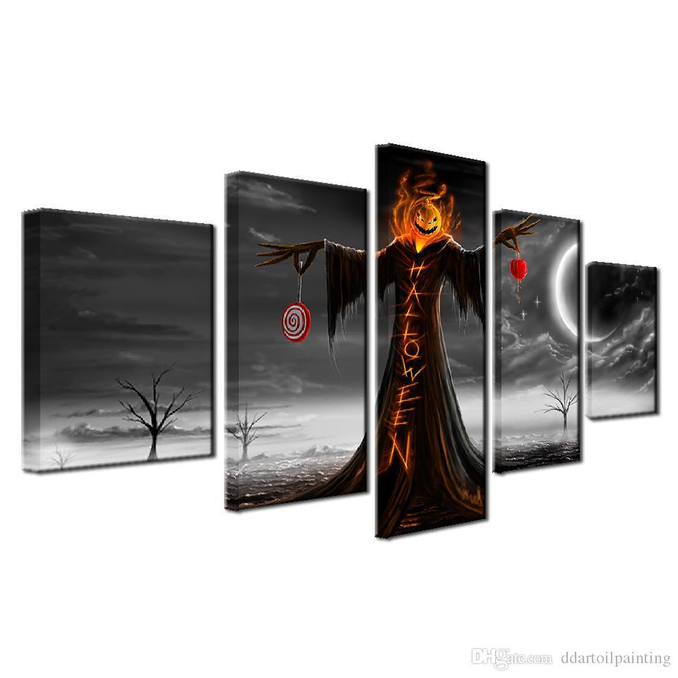 "Halloween LARGE 60""x32"" 5Panels Art Canvas Print Halloween Night Pumpkin Poster Wall Home Decor interior No Frame"