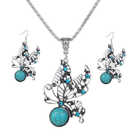 Conjuntos de jóias Colar Brincos Moda Feminina Étnica Do Vintage Imitação Turquesa Strass 2-Piece Set Partido Jóias Atacado TJS008