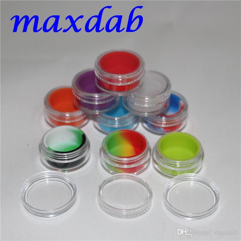 Recipientes de concentrado de cera acrílica transparente de 3 ml de múltiples colores, recipiente de plástico con silicona interior Antiadherente de silicona Dab Storag