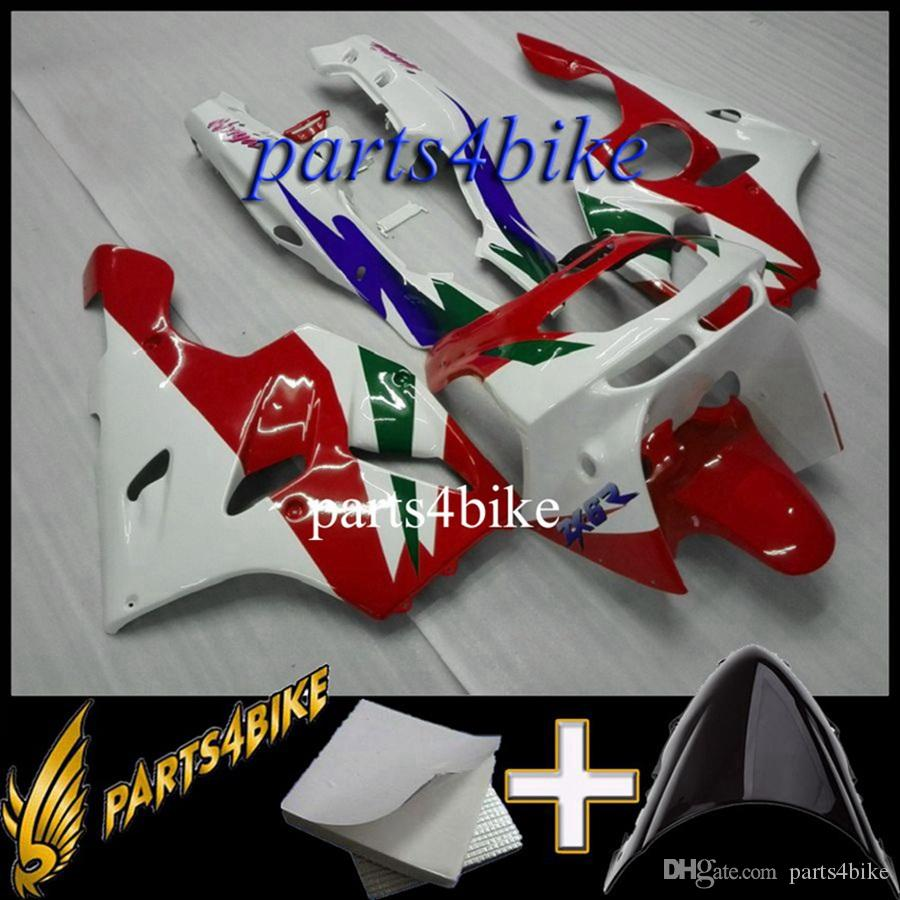 Aftermarket Plastic ABS Fairing for Kawasaki ZX6R 94 97 ZX-6R 1994-1997 94 95 96 97 green white Body Kit motorcycle panels