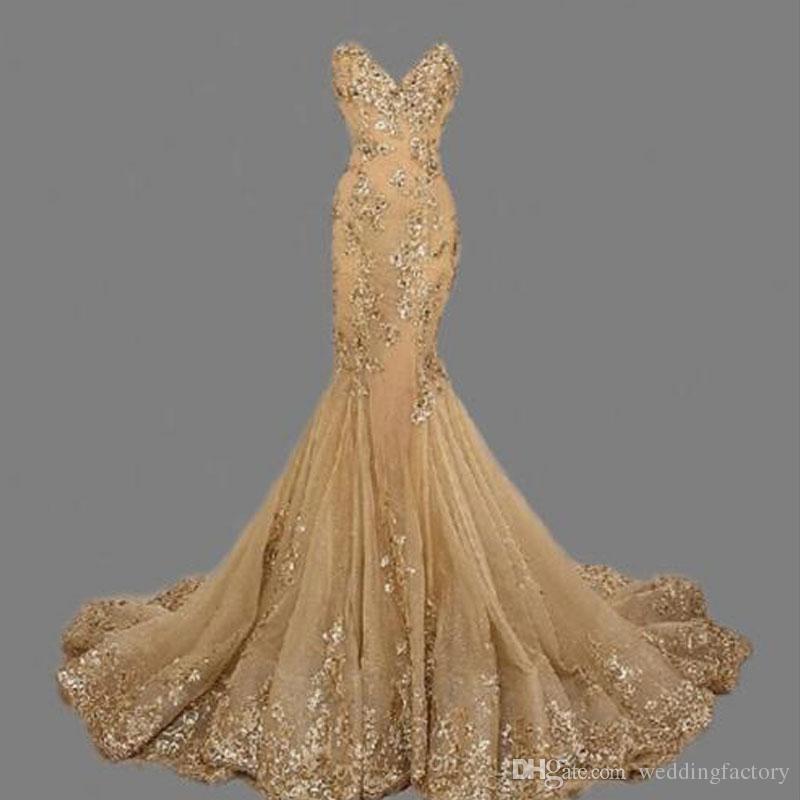 compre impresionante sirena dorado vestidos de baile lentejuelas con