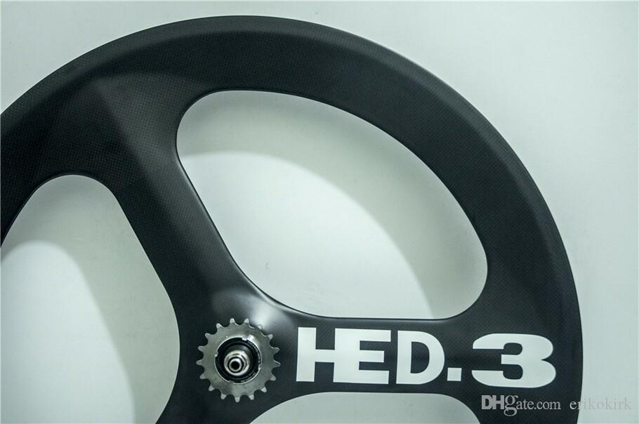 HED JET road bicycle 3 spokes carbon wheels Clincher 700C cycling carbon tri-spoke wheel for road track fixed gear