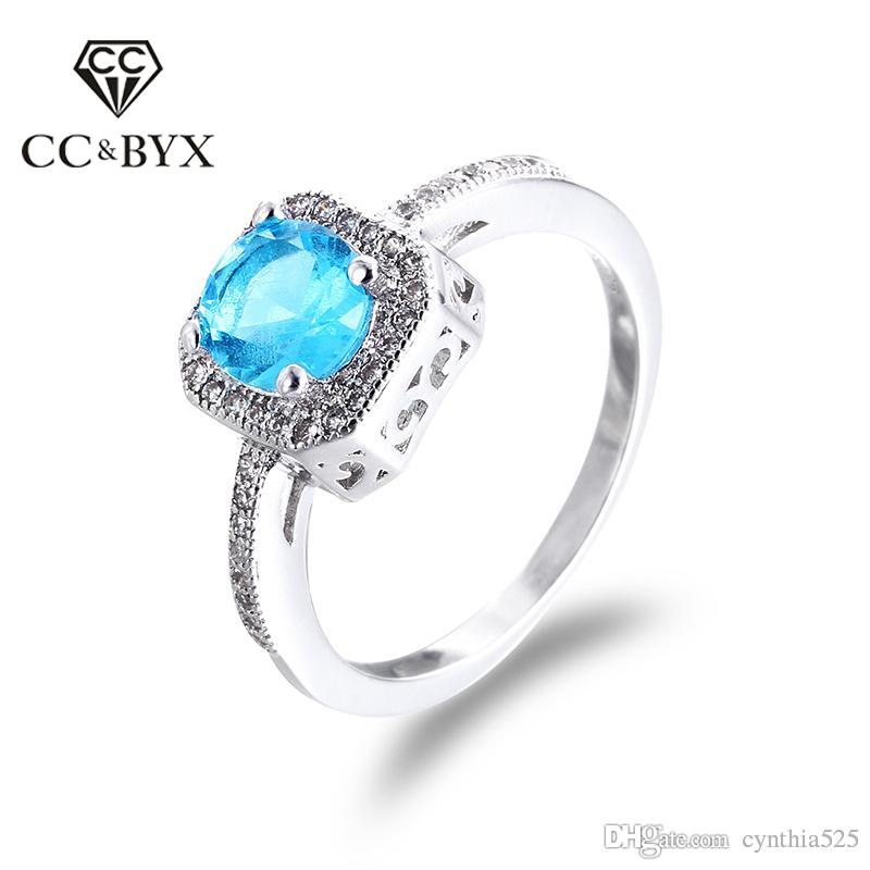 2018 Cc Wholesale Luxury Blue Stone Square Engagement Rings For