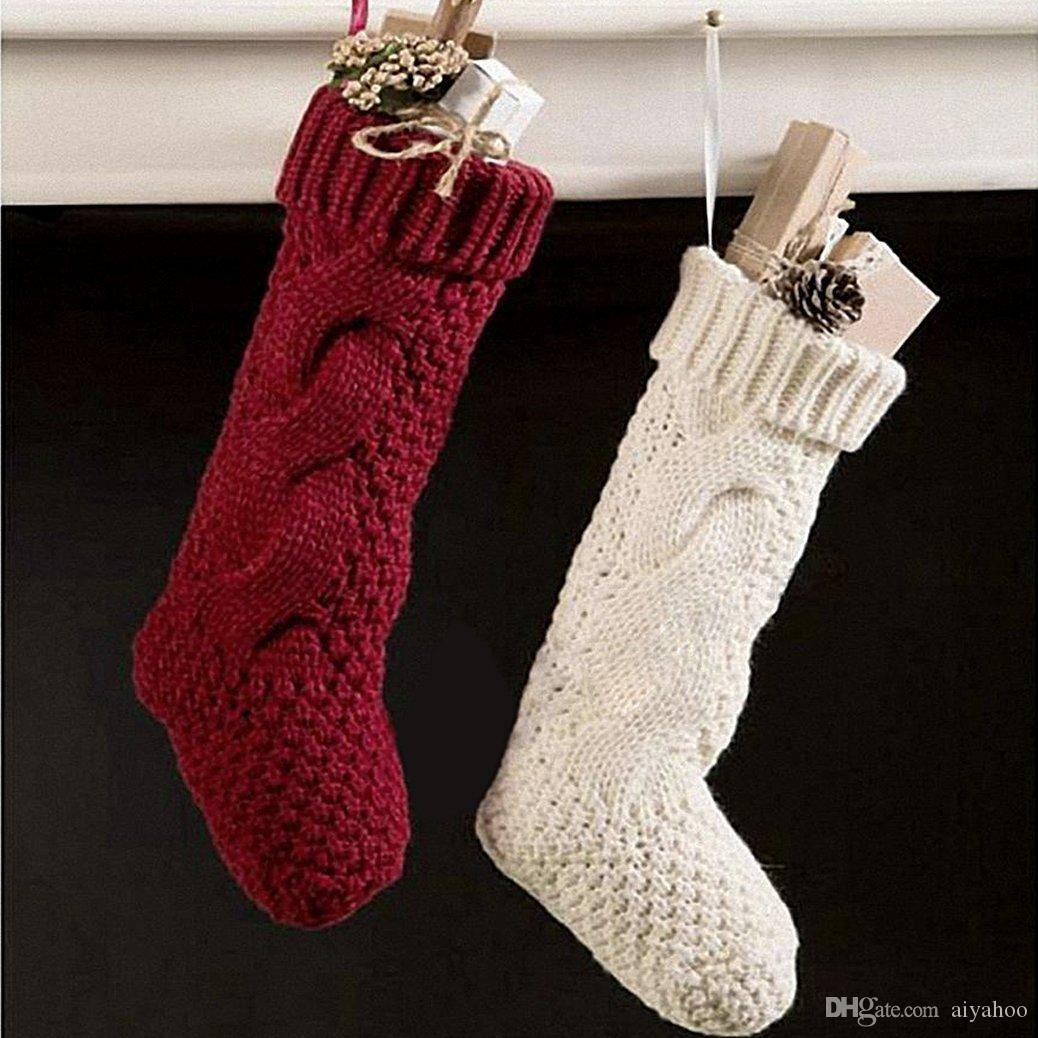 aiyahoo large knitted christmas stockings unique burgundy and ivory white knit personalized christmas decoration stocking xmas gift bag personalized knitted