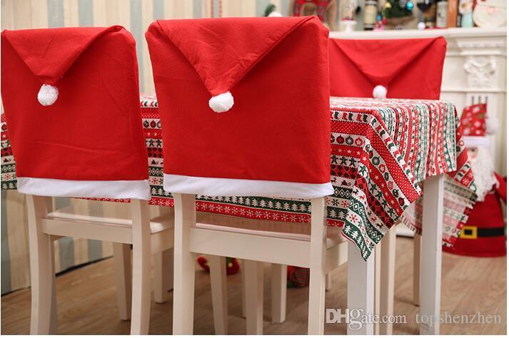 2017 natal papai noel cap cadeira tampa da mesa de jantar de natal festa red hat cadeira de volta cobre decoração de natal