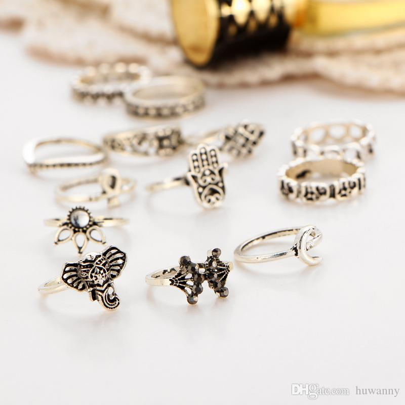 Silver Carved rings Hot Sale Retro Exquisite Cute Personality Punk Style Knuckle Rings Fashion Jewelry wholesale 0571WR