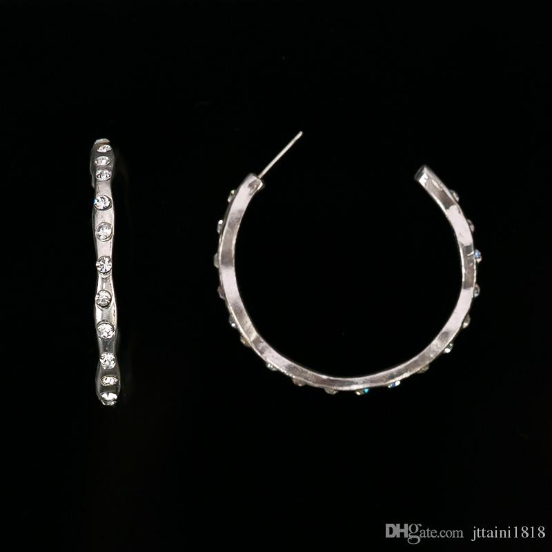 Statement Trendy Silver Plated Jewelry Elegant Shiny rhinestone sliver Plant hoop Earrings for women party Factory Wholesale #E276