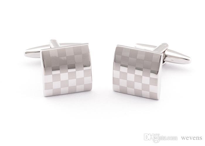 Роскошные серебряные запонки с лазерной узорной рубашкой для манжеты для мужчин Новый бренд квадратный свадебный заповечик подарок для отцов дня