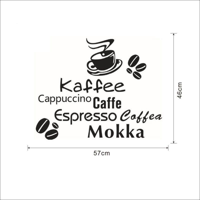 Todos los tipos de café cita pegatinas de pared taza de café granos de café pegatinas de pared decoración para el hogar vinilo decoración del hogar