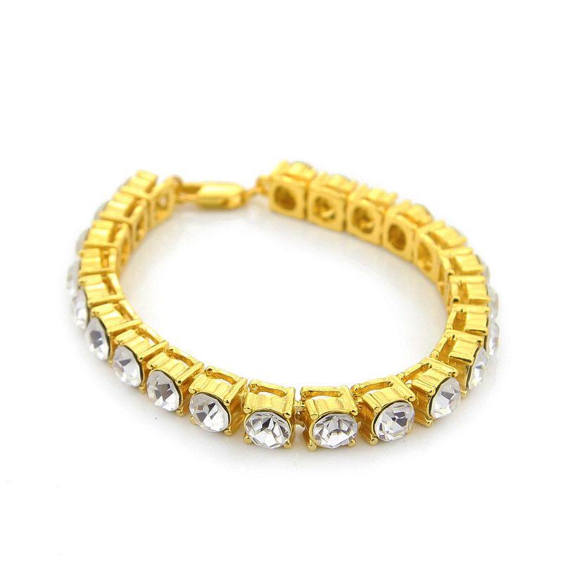 Хип-хоп женщины Bling один 1 ряд ясно стразами Фараон браслеты золото имитация камень 8