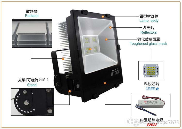 50W 70W 100W 120W 150W 200W LED Tunnel Licht Flutlicht Werbung Lampe Creechip Meanwell Fahrer UL SAA CE Lamellenkühler