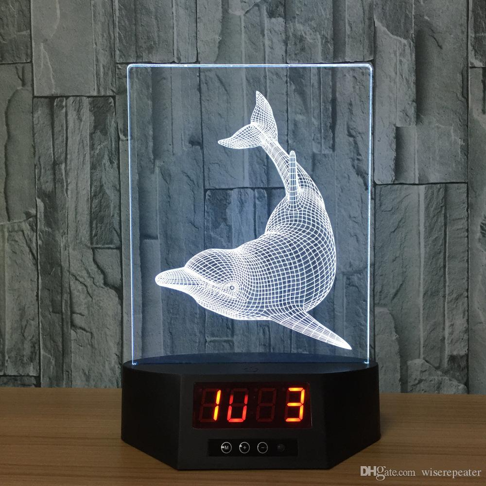 2019 3D Dolphin Illusion Clock Lamp Night Light RGB Lights USB Powered AA Battery IR Remote Dropshipping Retail Box From Wiserepeater, $16.59 | DHgate.Com