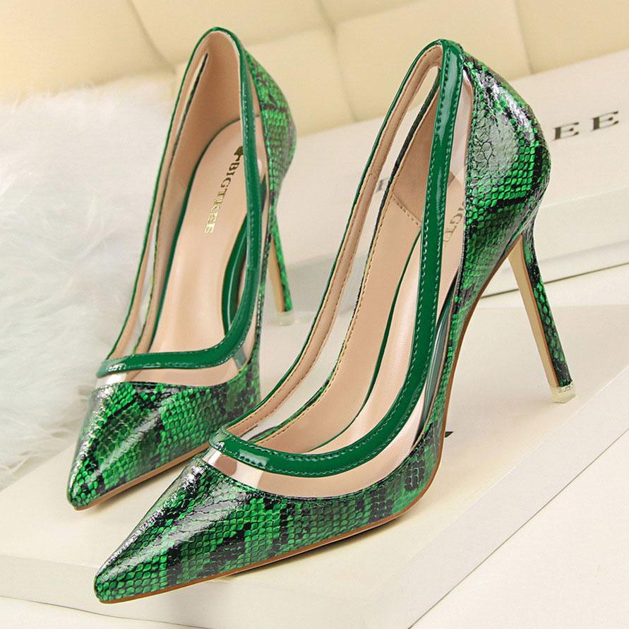 a88d04a9fe849e W16S205 Golandstar Lady Dress Shoes Women Snakeskin PU Leather Pointed Toe  High Heels Festival Party Wedding Shoes Slim Formal Pumps Lady Dress Shoes  Women ...