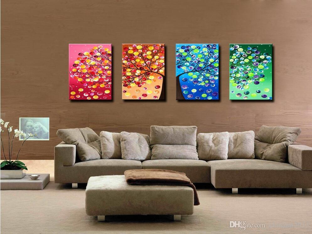 No framed Four Seasons Tree Wall Canvas Painting Art Decoration Picture Prints Oil Painting for Home Living Room Wedding Decoration Gifts