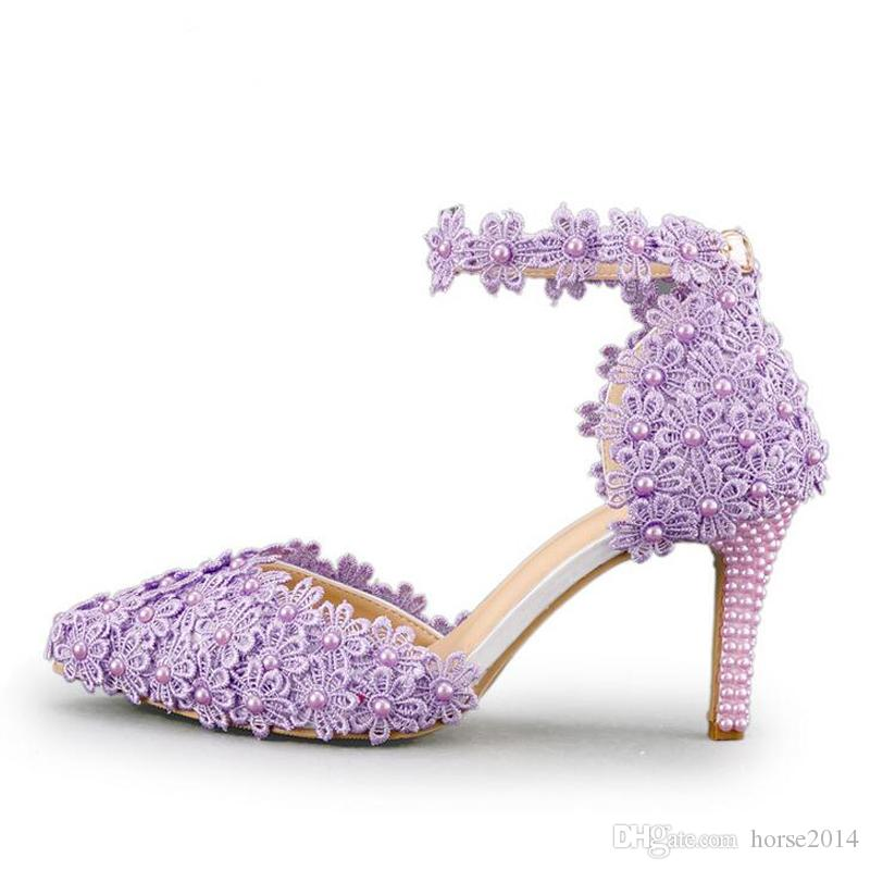 b08ed9c0e9b43 Ankle Strap Summer Sandals Handmade Lace Flower Women Middle Heels Bridal  Wedding Shoes Adult Ceremony Pumps Purple Yellow